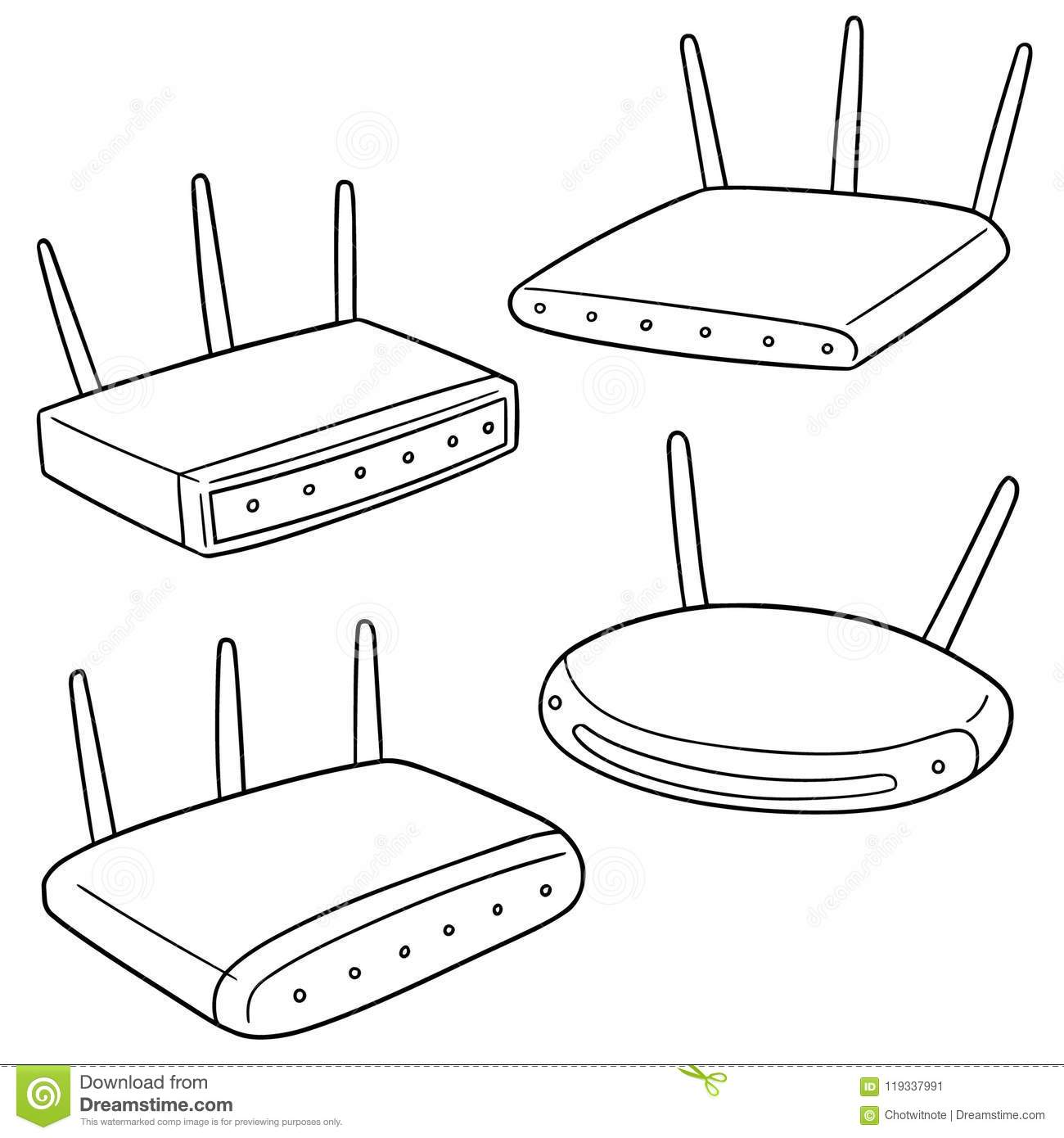 Vector Set Of Wireless Router Stock Vector