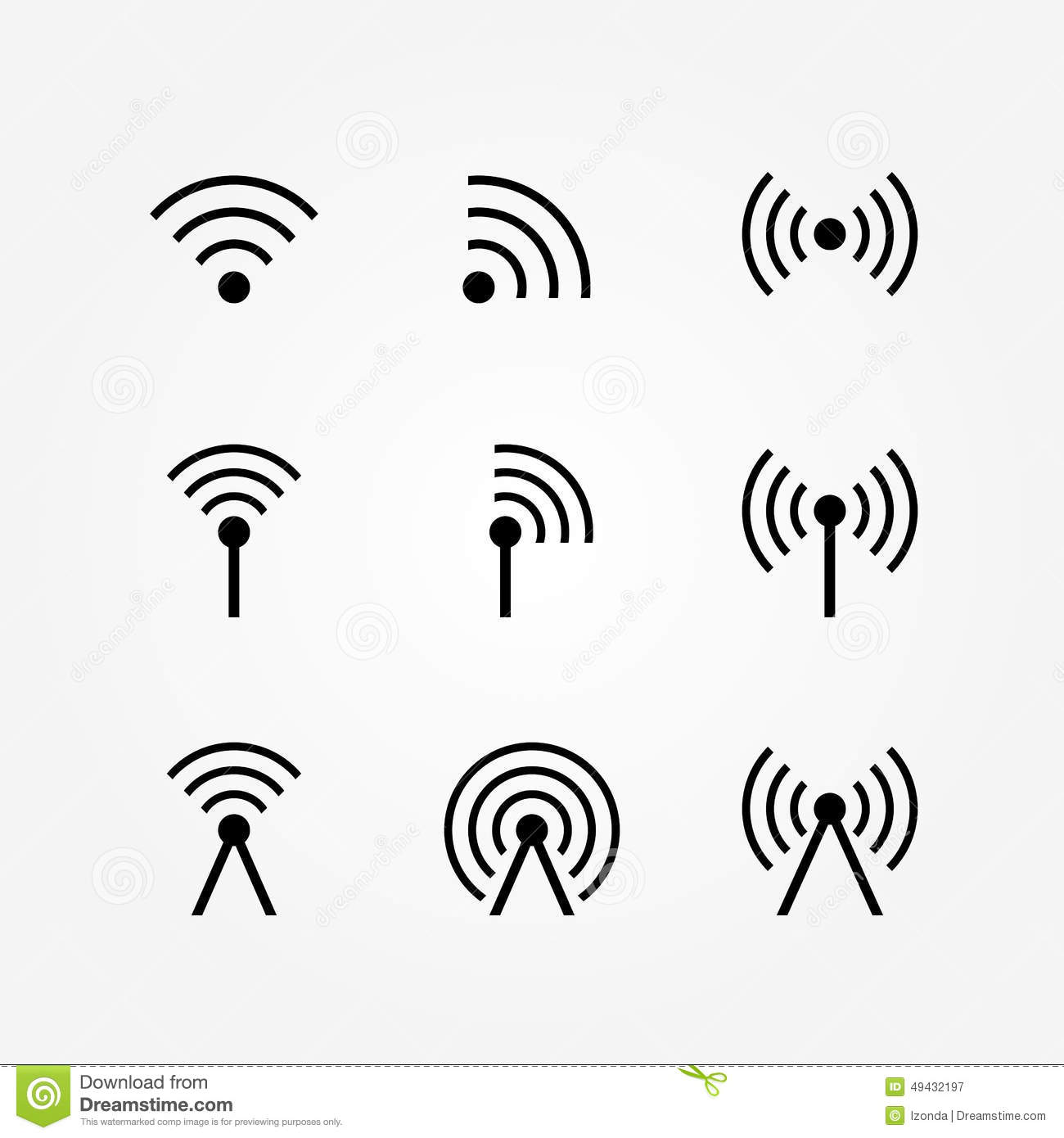 Vector Set Of Wireless And Wifi Icons Stock Vector