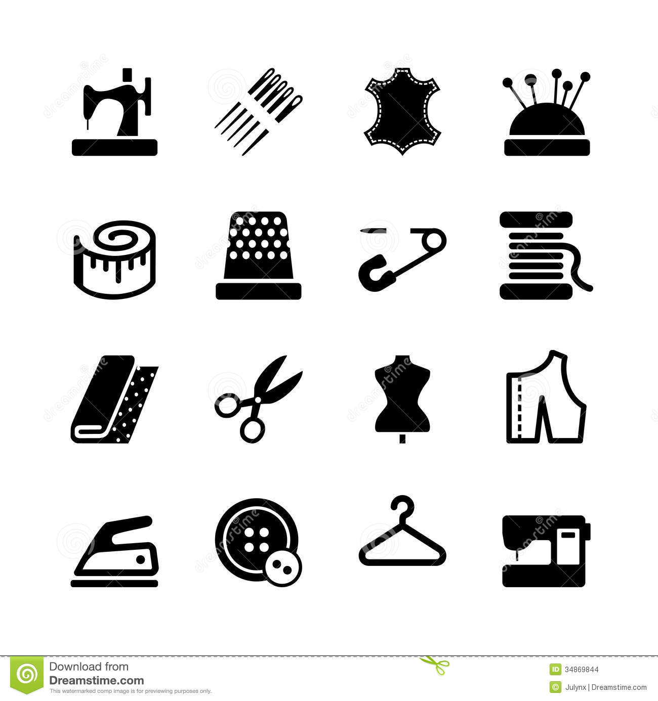 Vector Sewing Equipment And Needlework Icon Set Stock Images - Image