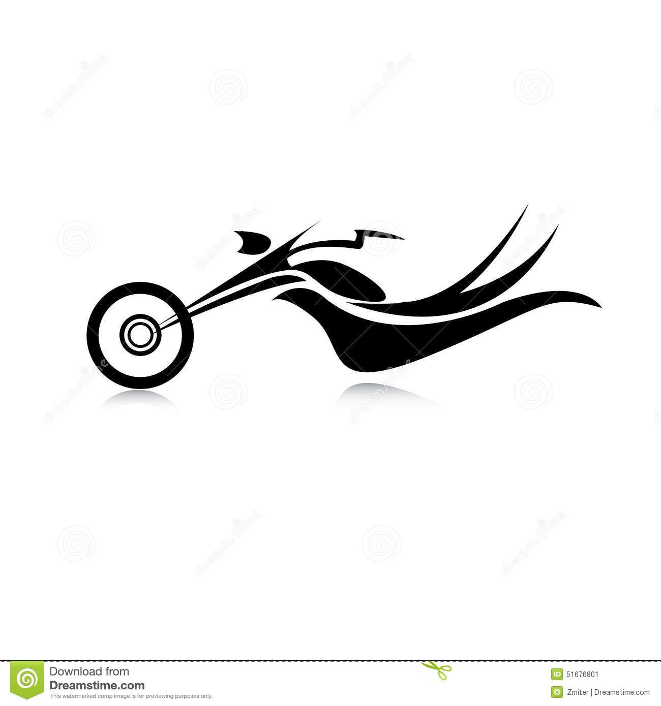 Vector Silhouette Of Classic Motorcycle Moto Icon Stock