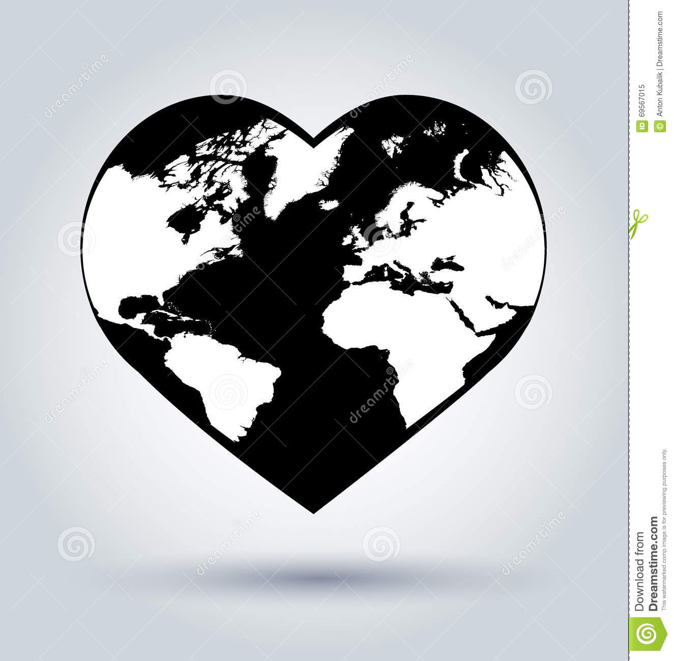 Vector Silhouette Of A Globe In The Shape Of Heart Stock