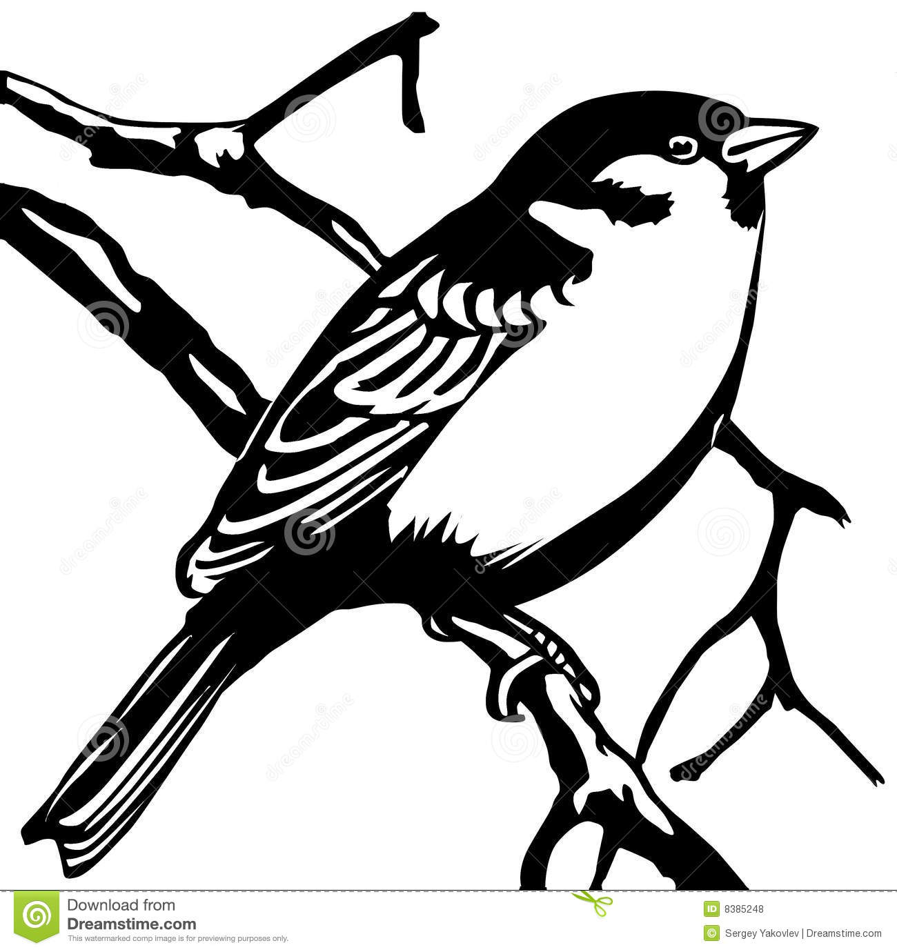 Vector Silhouette Sparrow Stock Vector Illustration Of