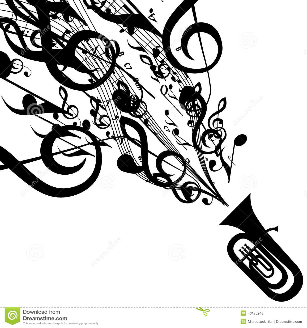 Vector Silhouette Of Tuba With Musical Symbols Royalty