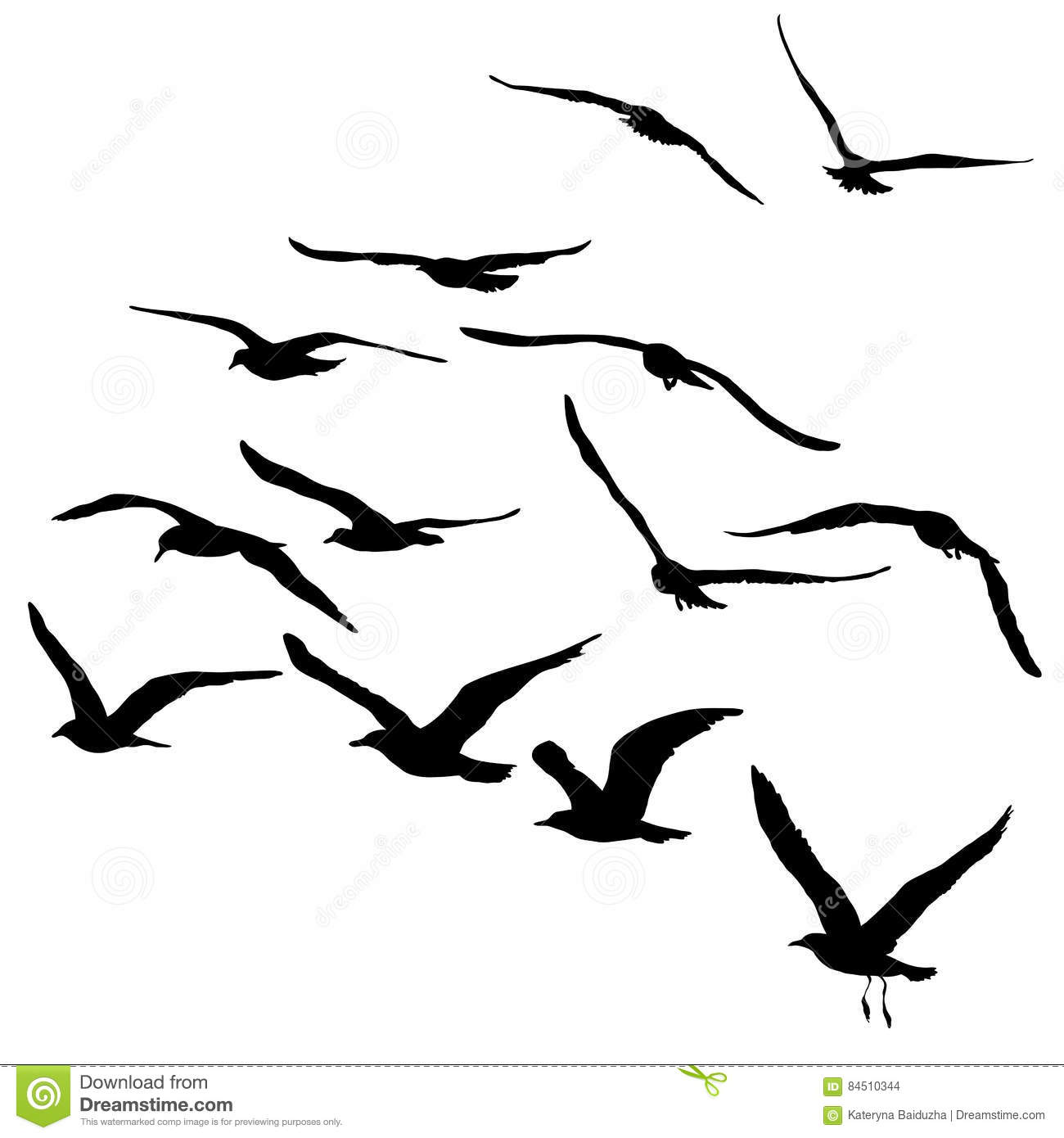 Vector Silhouettes Of Flying Seagulls Isolated Black