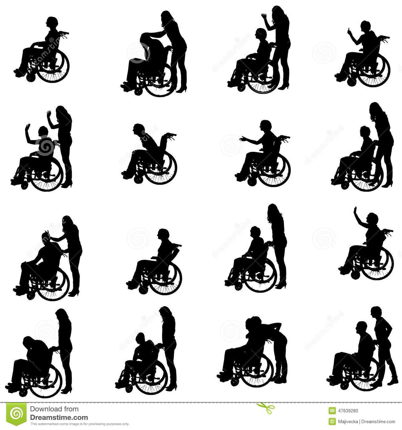 Vector Silhouettes Of People In A Wheelchair. Stock Vector