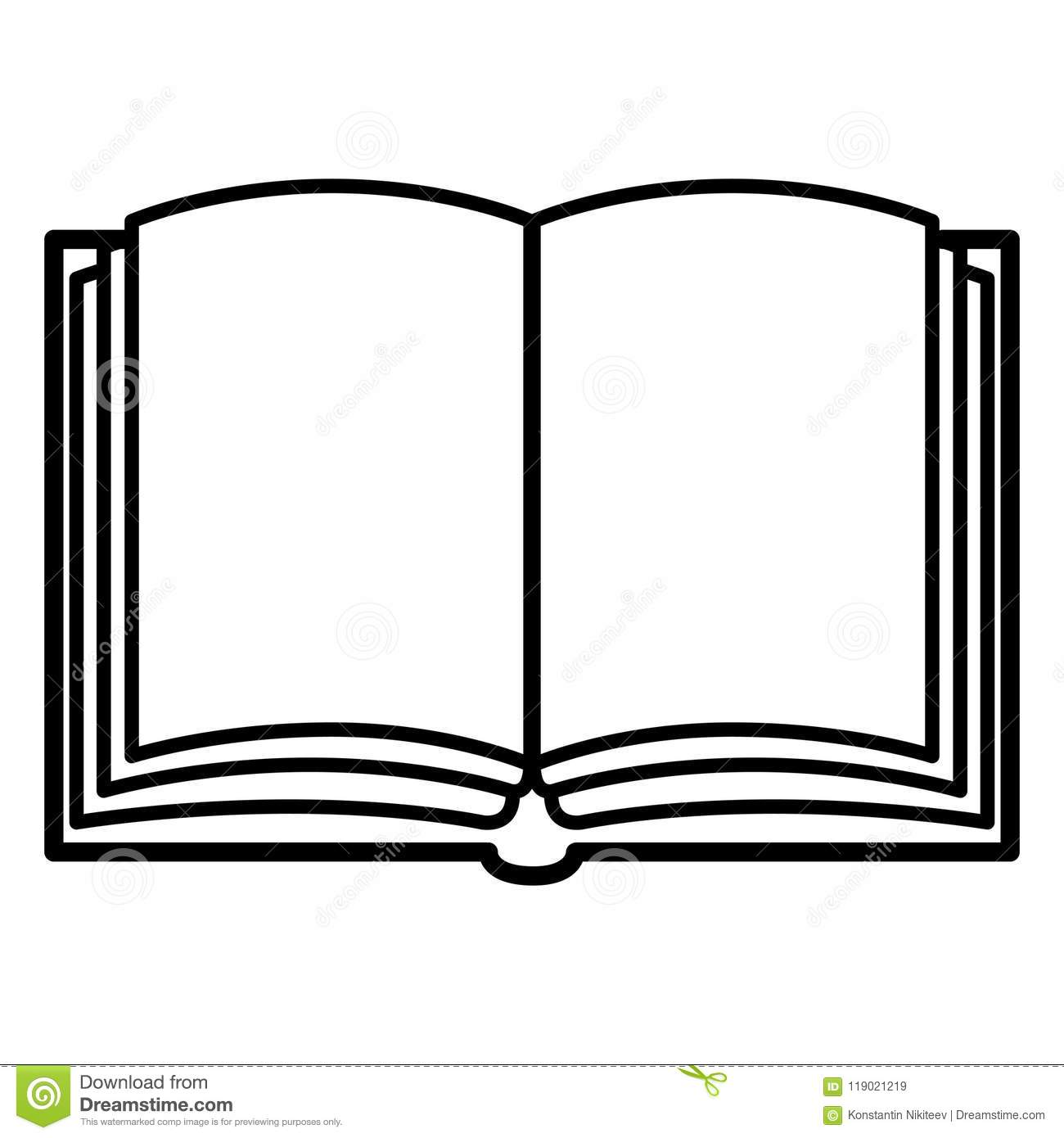 hight resolution of vector black outline icon open blank book