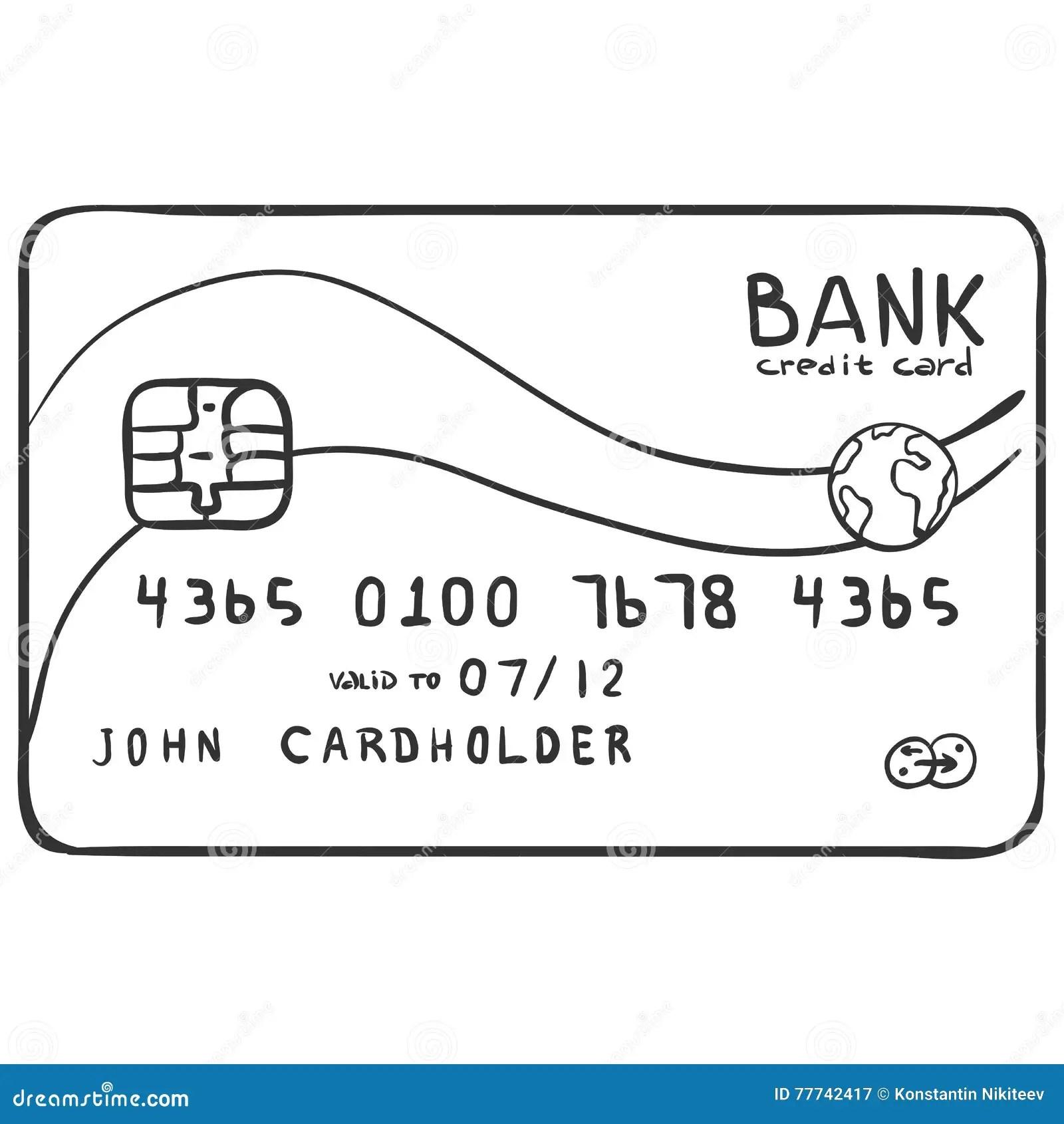 Vector Single Sketch Bank Credit Card Stock Illustration