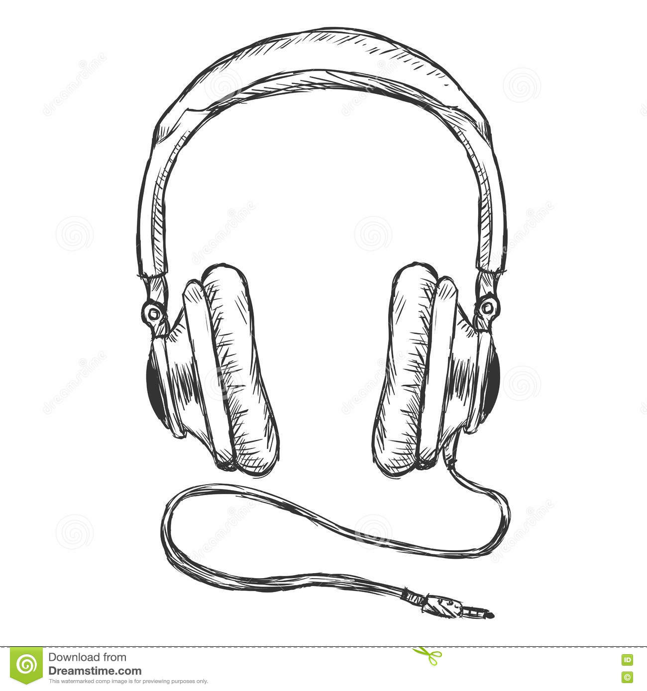 Vector Single Cartoon Circumaural Headphones With Wire Royalty Free Stock Photo