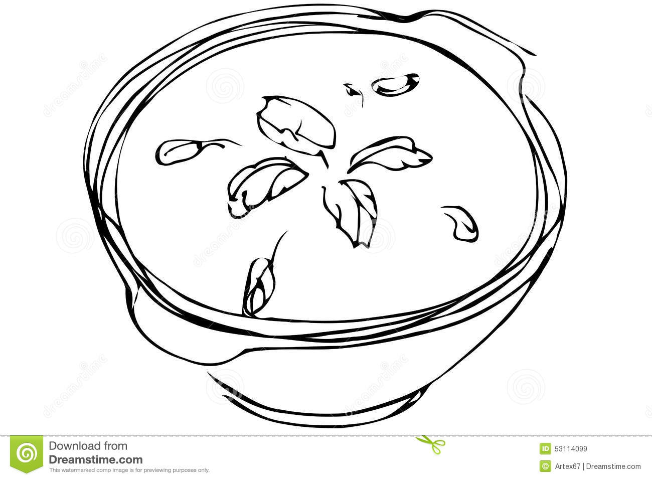 Vector Sketch Bowl Of Soup With Herbs Stock Vector