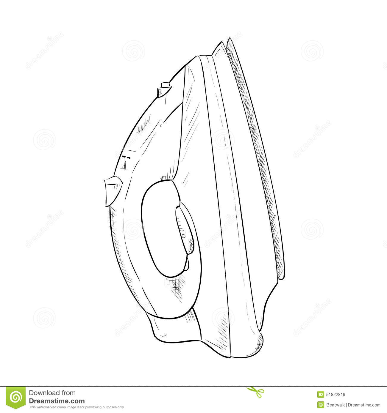 Vector Sketch Hand Drawn Of Steam Iron Stock Vector