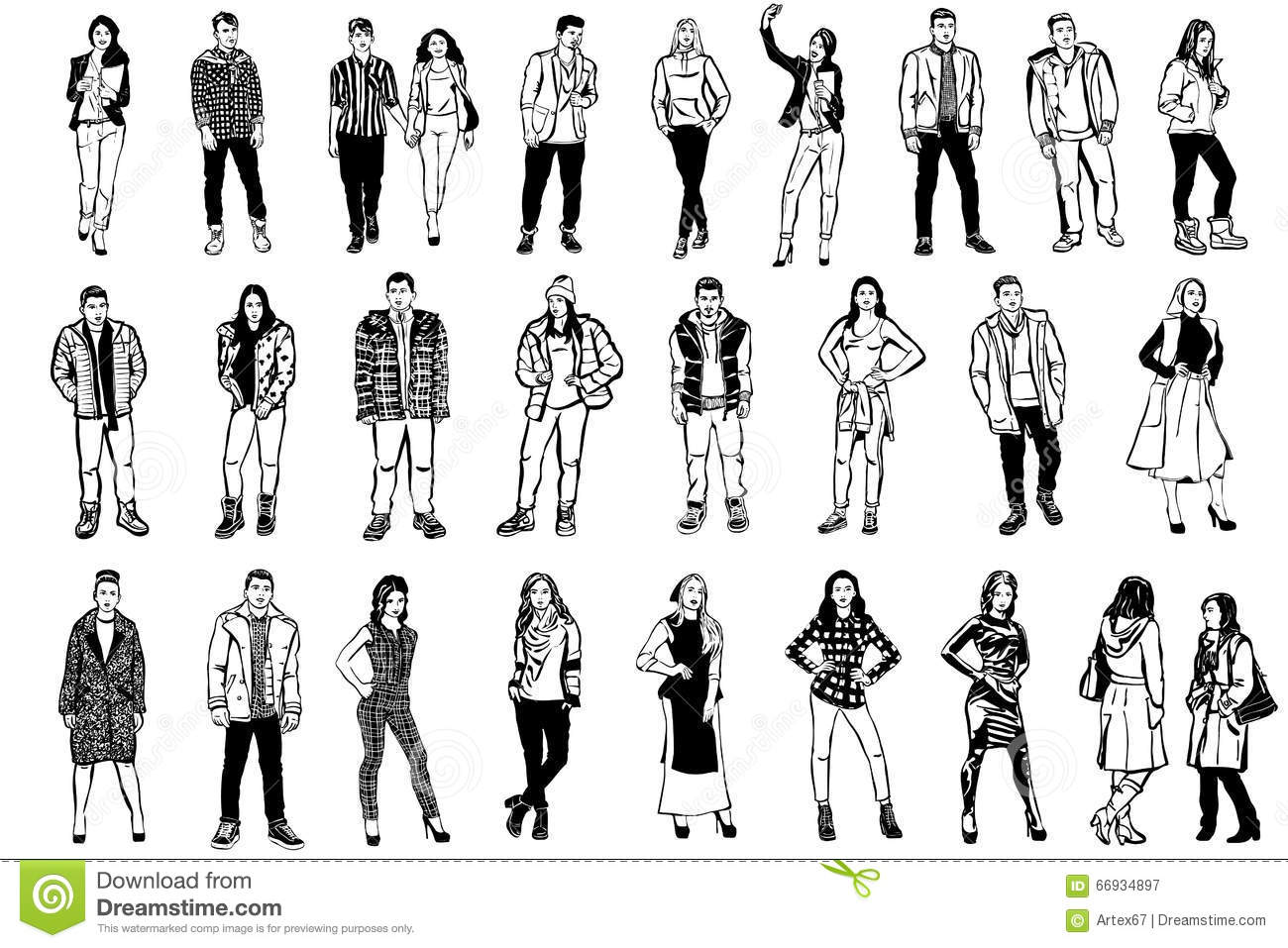 Vector Sketch Of Men And Women In Beautiful Clothes Stock