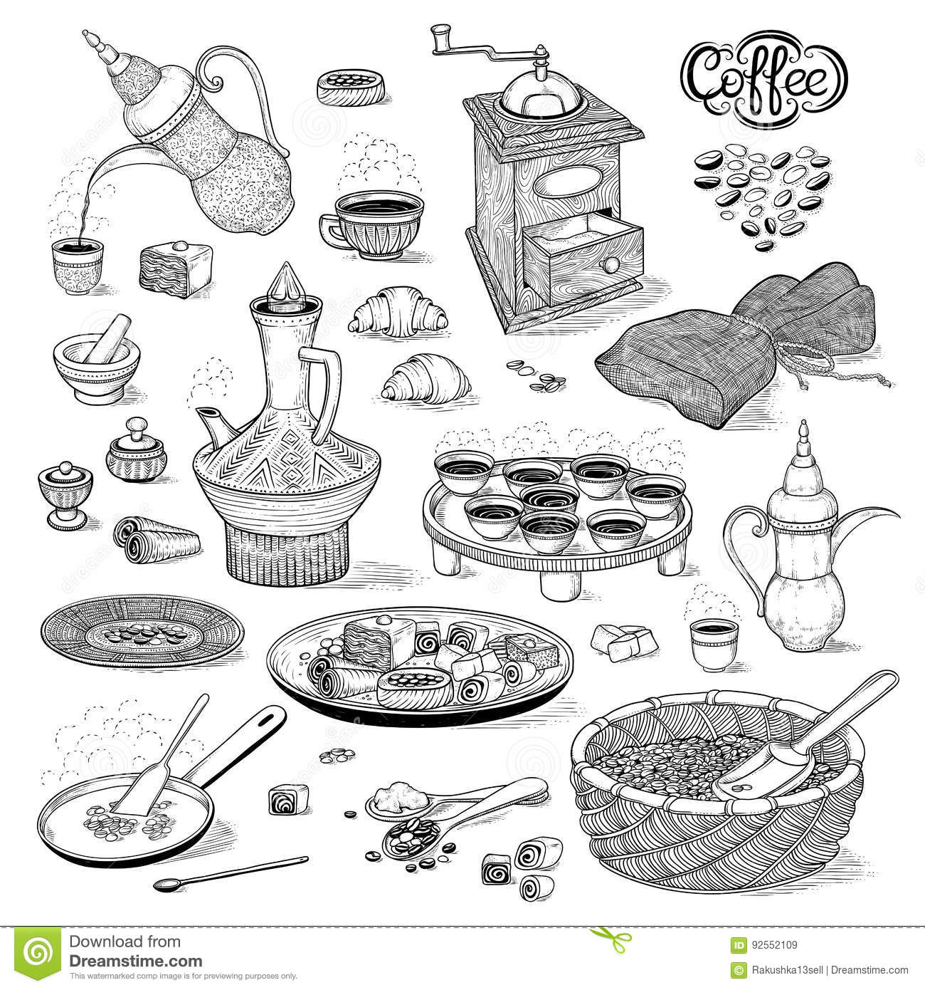 Vector Sketch Set Drawing Arabic Cup And Coffeepot
