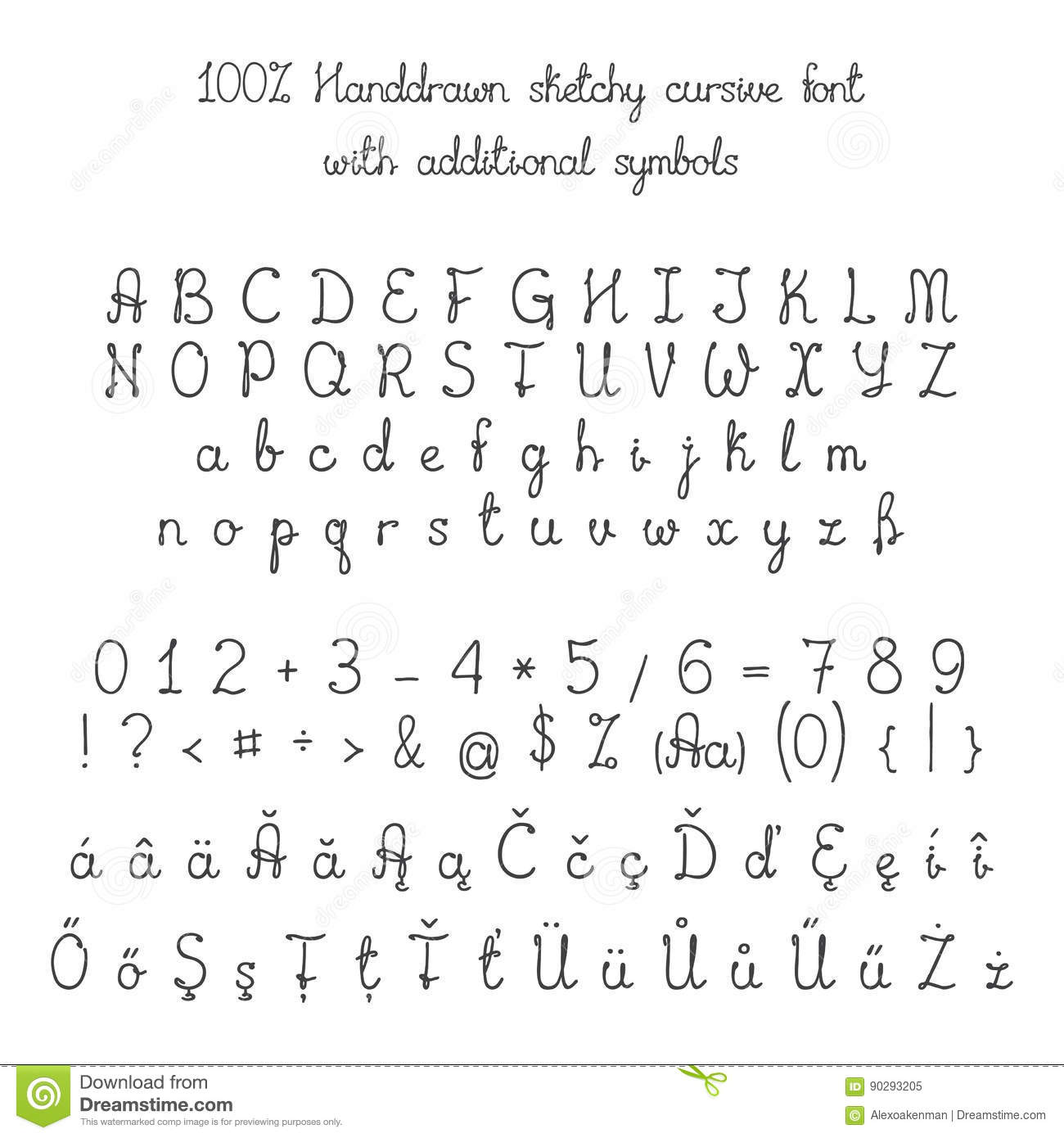 Vector Sketchy Handdrawn Italic Cursive Font With