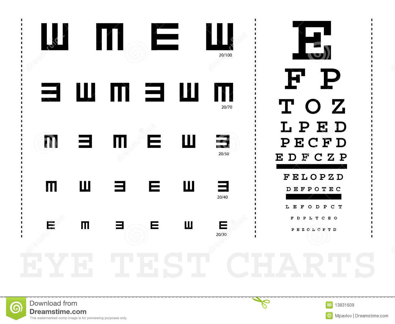 Vector Snellen Eye Test Charts Royalty Free Stock Images