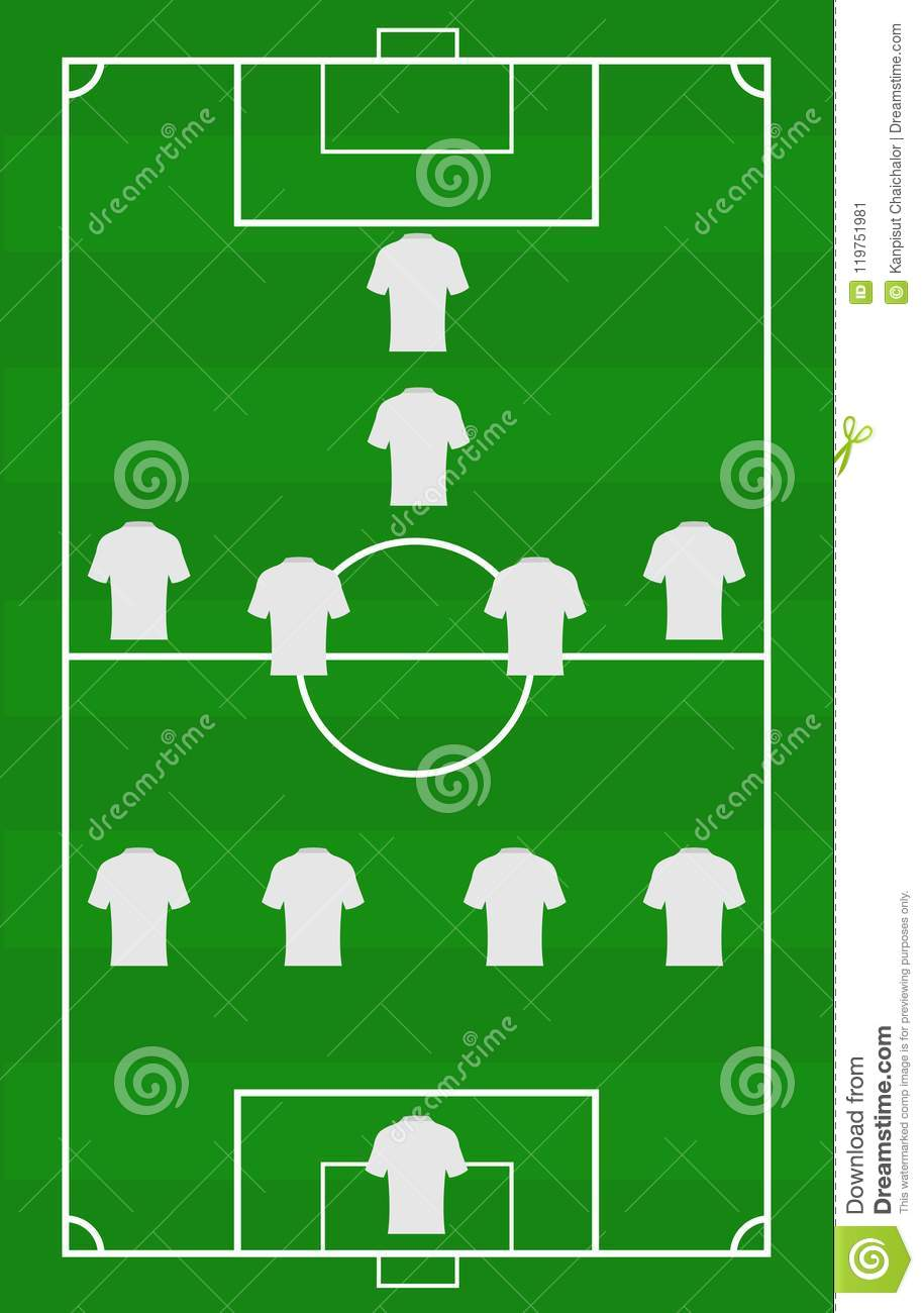 hight resolution of vector soccer field with the arrangement of players in the game position title of football