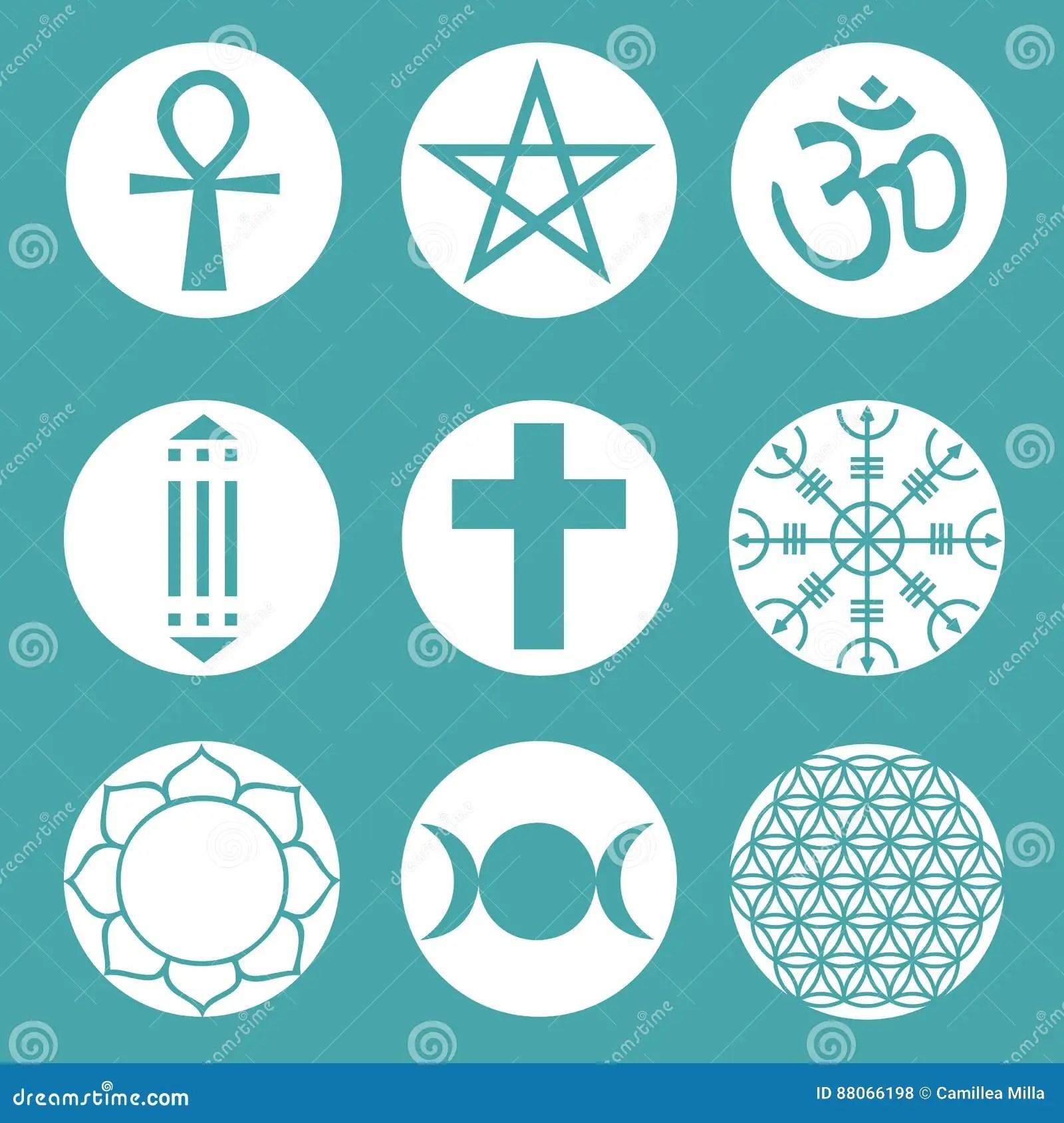 vector spiritual symbols set