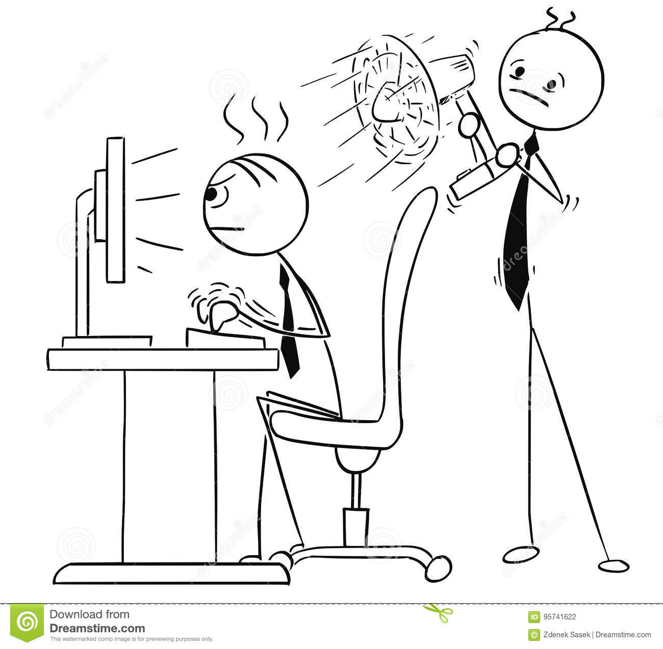 office chair footrest step stool combo cartoon man working at computer vector | cartoondealer.com #13780903