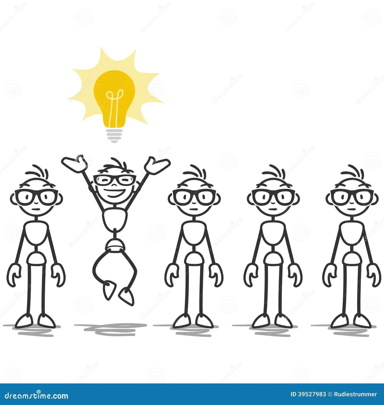 Vector Stick Man Light Bulb Idea Stock Vector