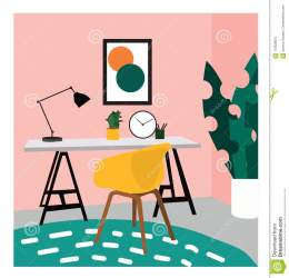 Vector Interior Design Illustration Office Study Picture Chair Desk And Lamp Cute Drawing Furniture Stock Vector Illustration of background holding: 112528972