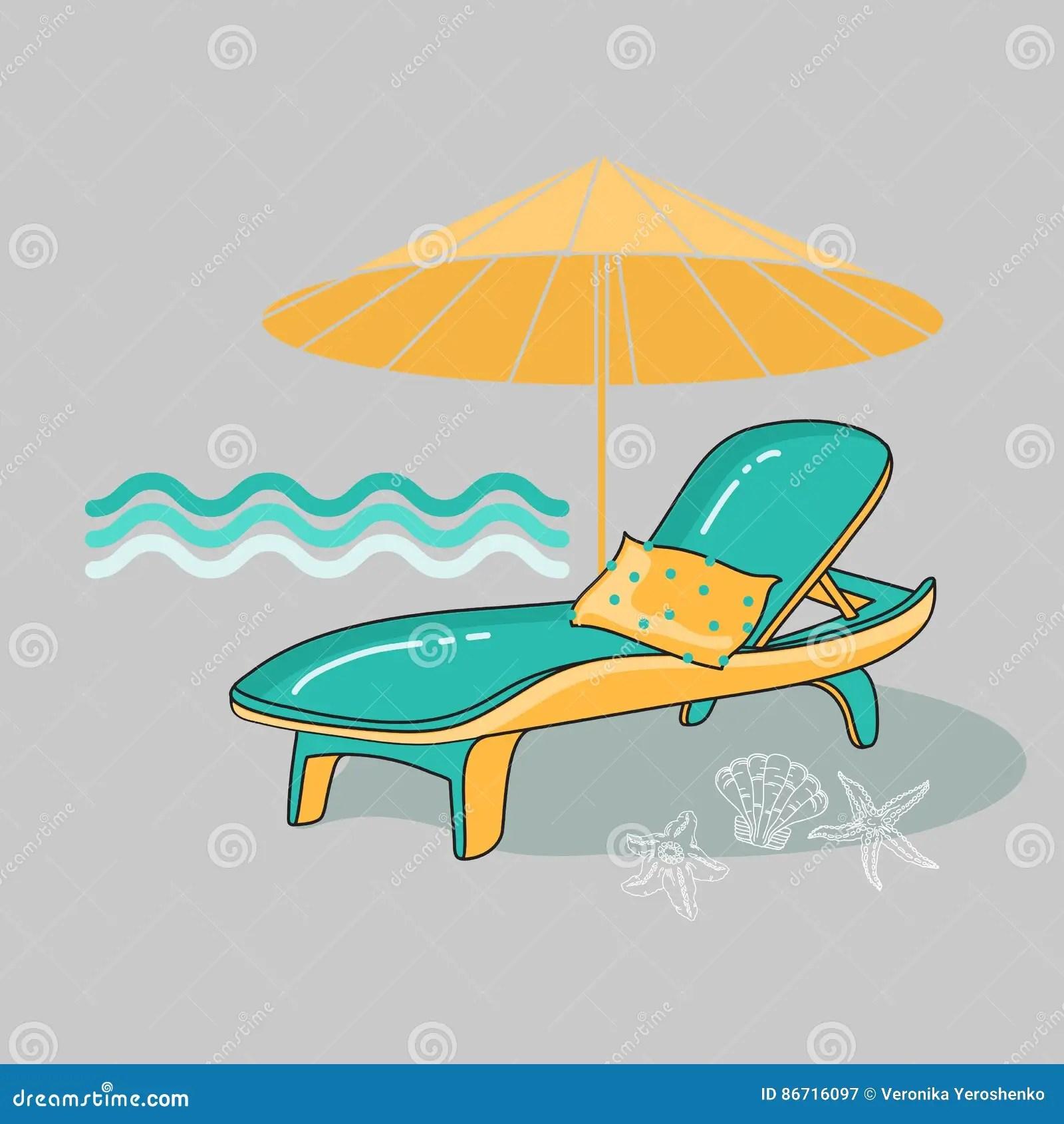 Vector Summer Cartoon Illustration Of Beach Lounge Chair