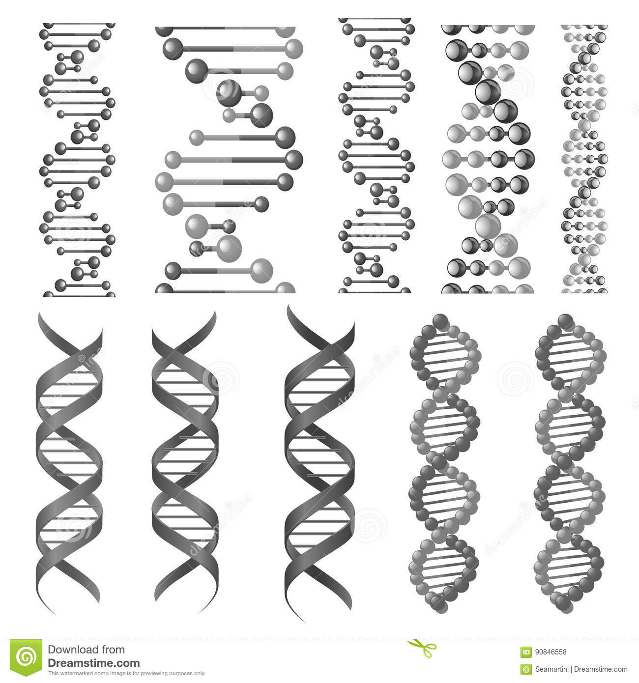 Vector Symbols Of Dna Helix Or Molecular Chain Stock