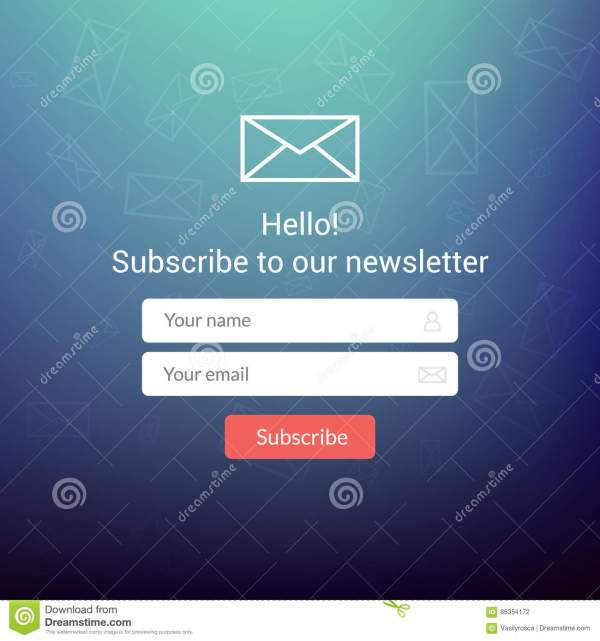 Vector Template Email Subscribe. Submit Form Website
