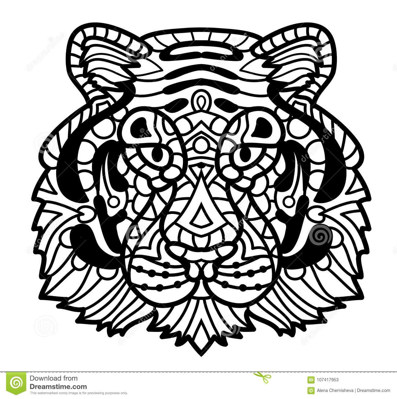 Face Tiger Cartoon Vector