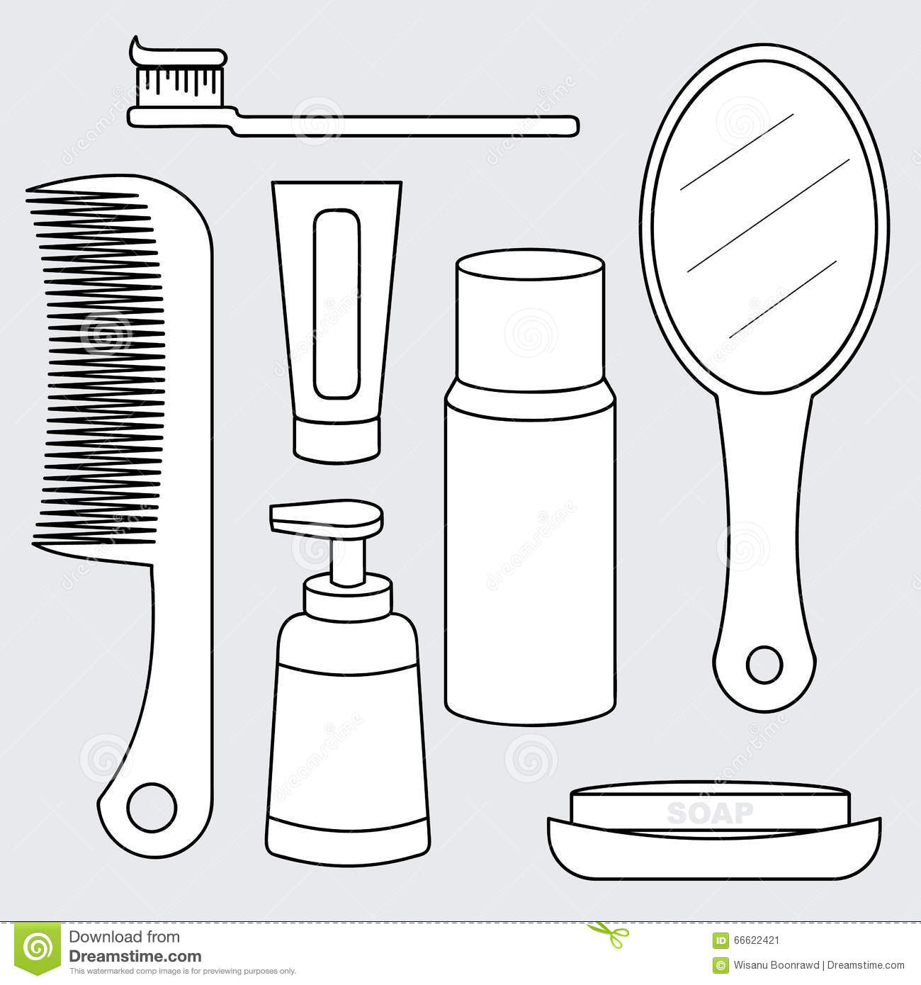 Vector Of Toiletry Set Personal Care Product Stock