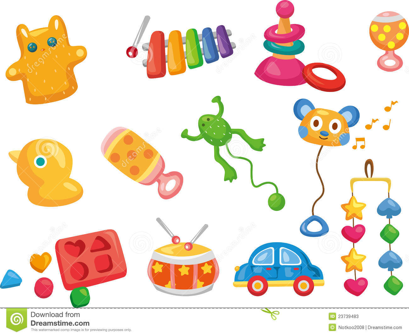 Cute Toddlers Playing Cartoon Wallpaper Vector Toy Icons Baby Toys Stock Vector Illustration Of