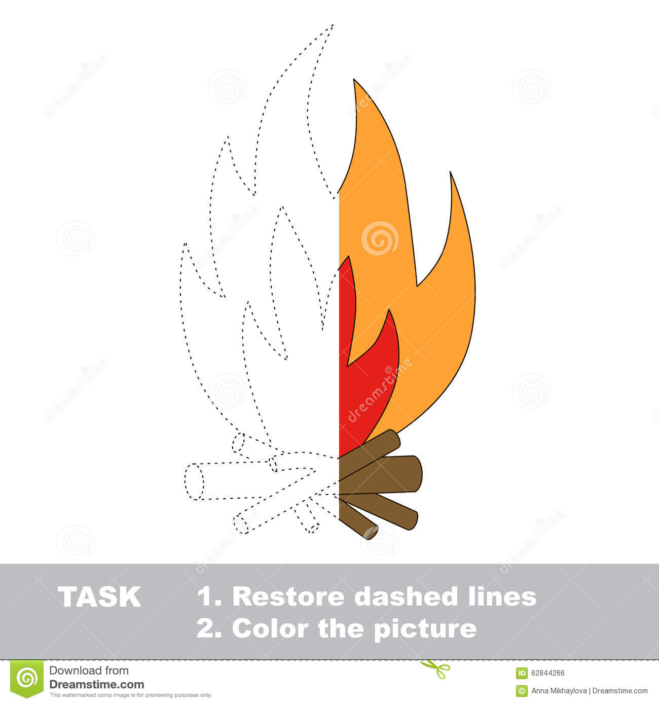 Vector Trace Game Bonfire To Be Colored Stock Vector