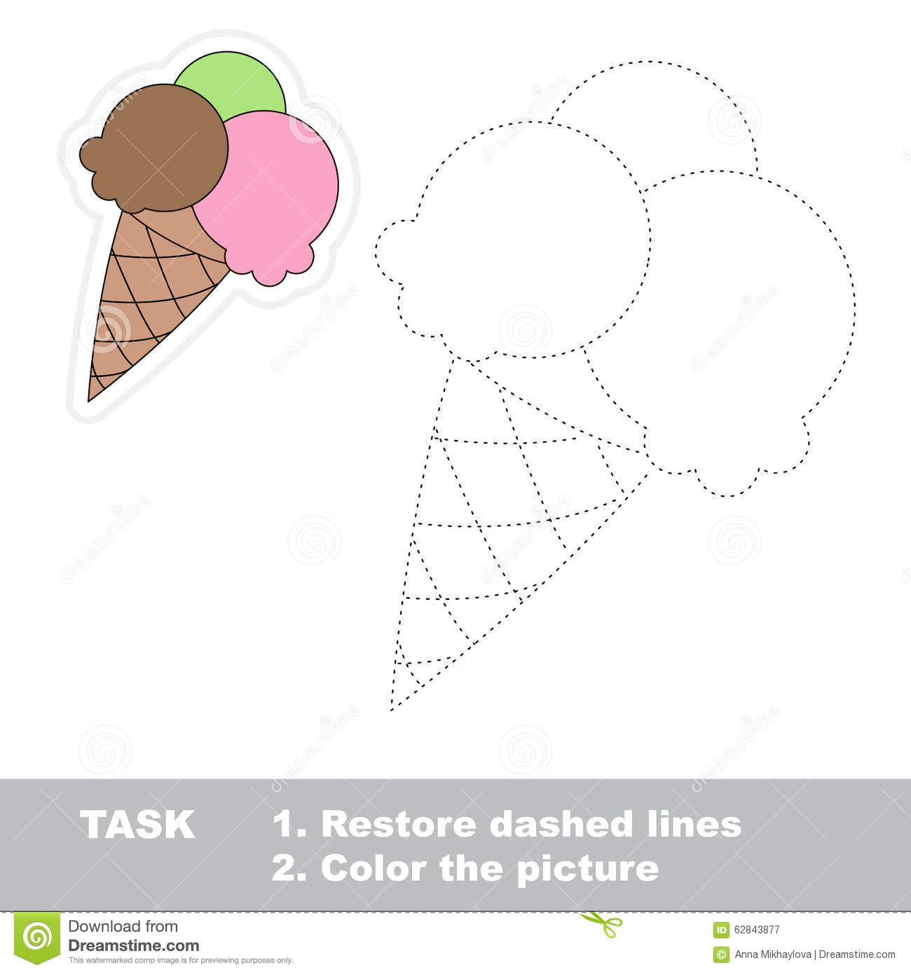 Vector Trace Game Ice Cream To Be Traced Stock Vector