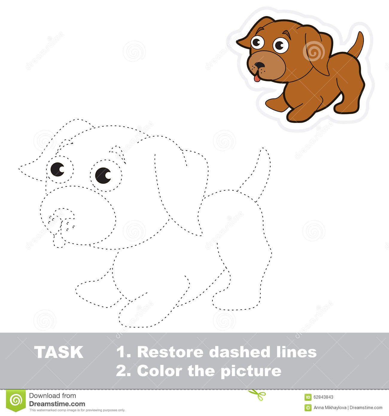 Vector Trace Game Little Dog To Be Traced Stock Vector