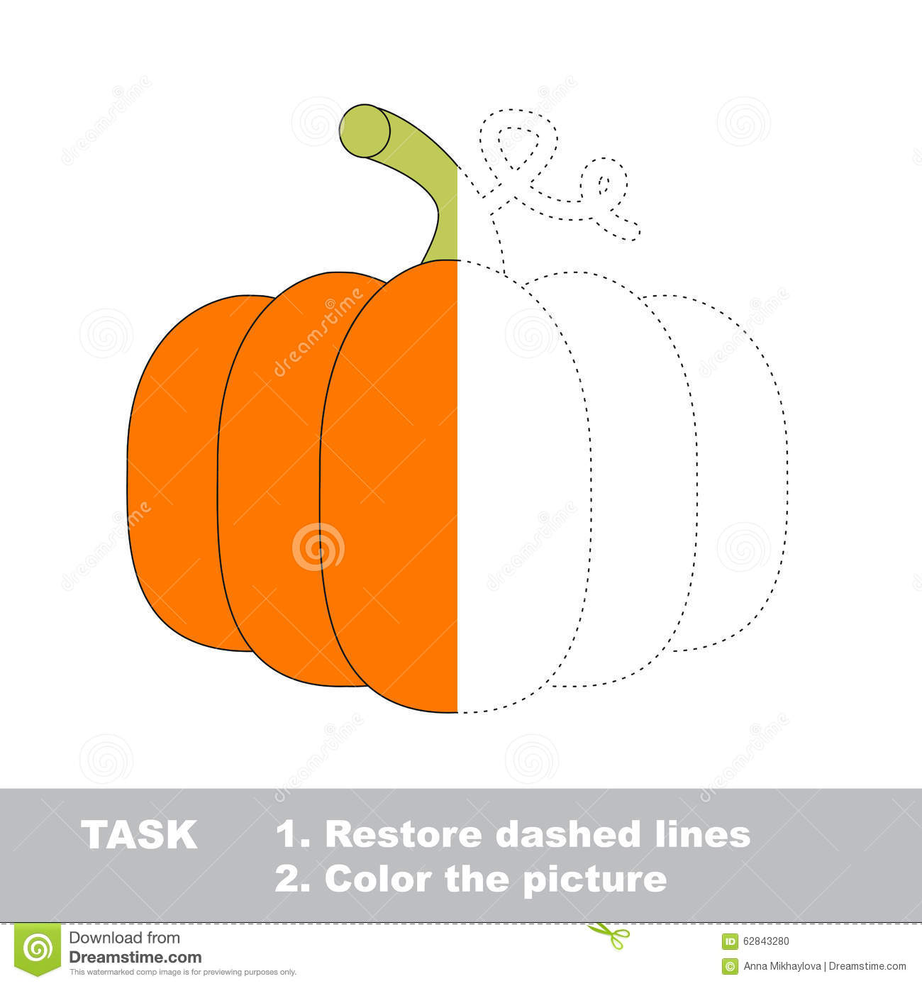 Vector Trace Game Pumpkin To Be Colored Stock Vector
