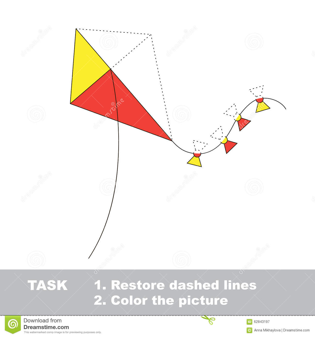 Vector Trace Game Toy Kite To Be Colored Stock Vector