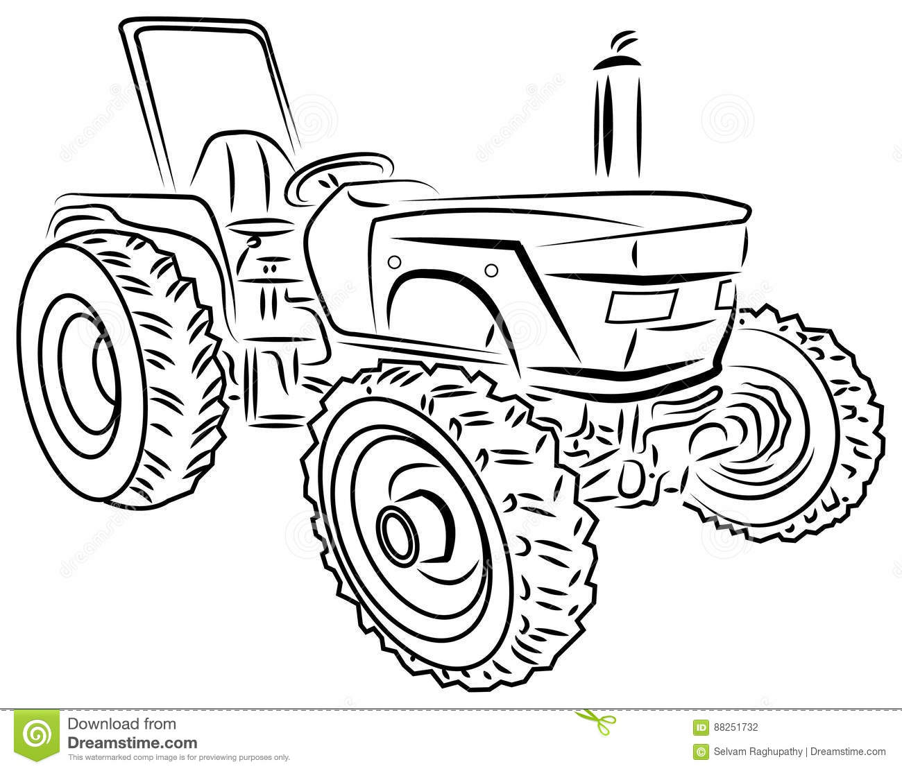 Vector tractor stock vector. Illustration of antique