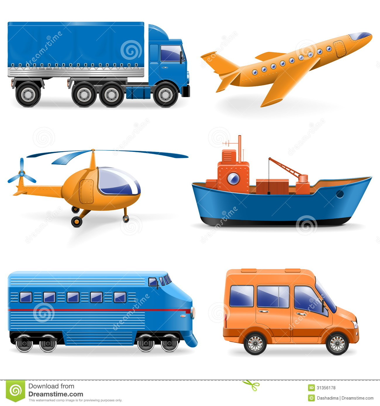 Vector Transport Icons Royalty Free Stock Photos
