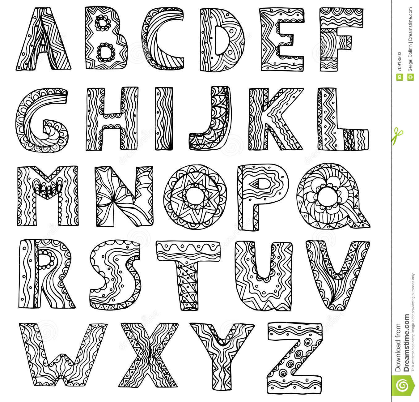 Vector Unusual Alphabet Doodle Style Letters On A White
