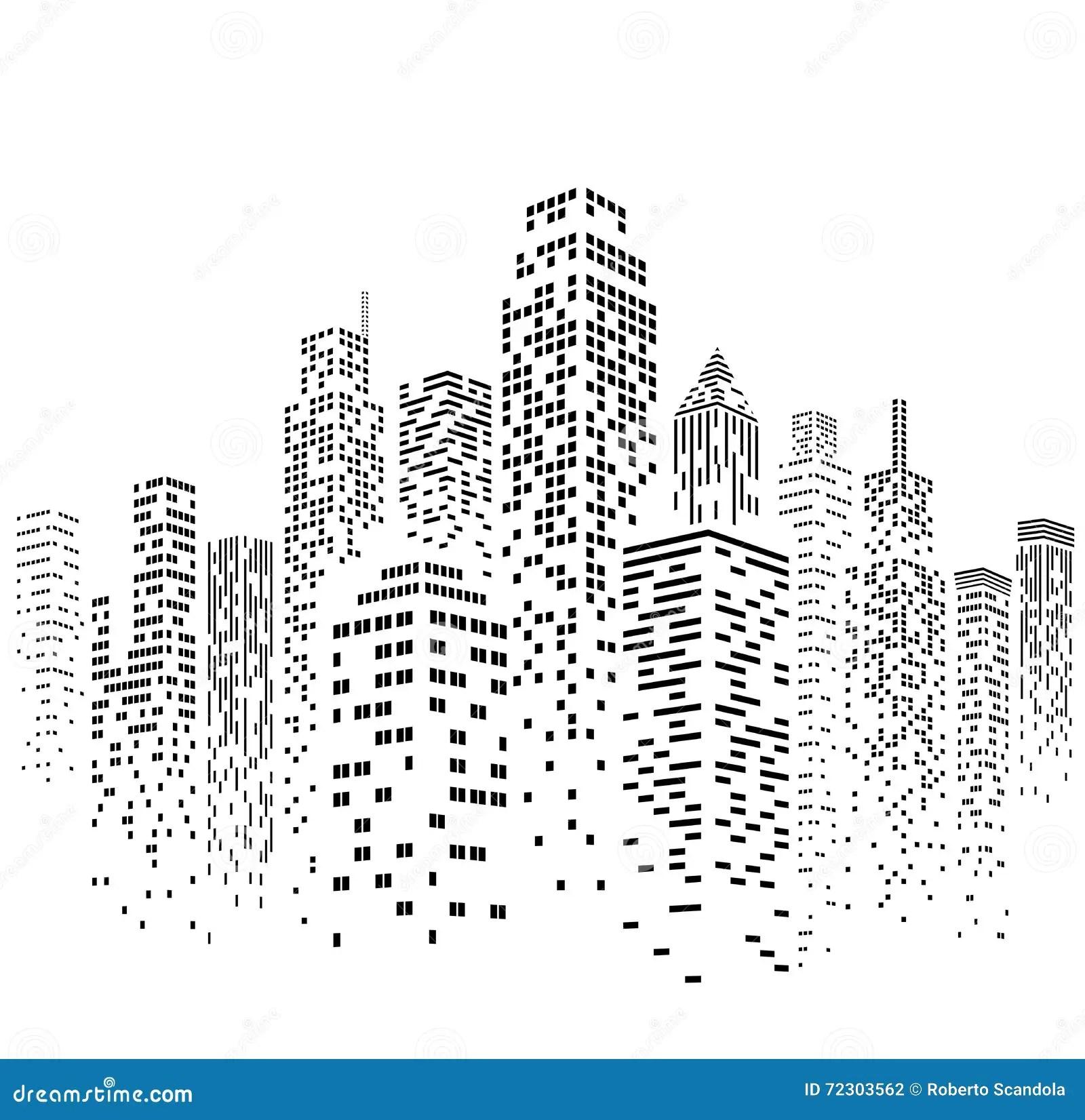 Vector Urban Cityscape Silhouette Illustration Stock
