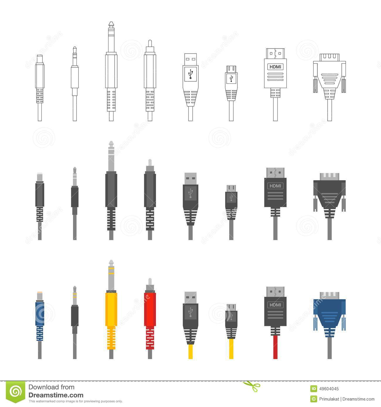 Vector Various Audio Connectors And Inputs Set Stock Vector