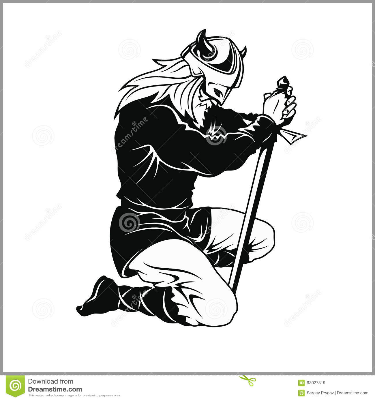 Vector Viking Warrior With Sword Cartoon Illustration