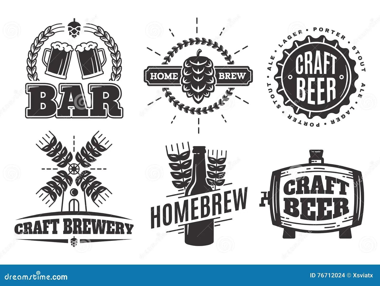 Vector Vintage Craft Beer Logos Bar Labels And Emblems
