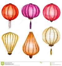 Vector Watercolor Chinese Lanterns Vector Illustration ...