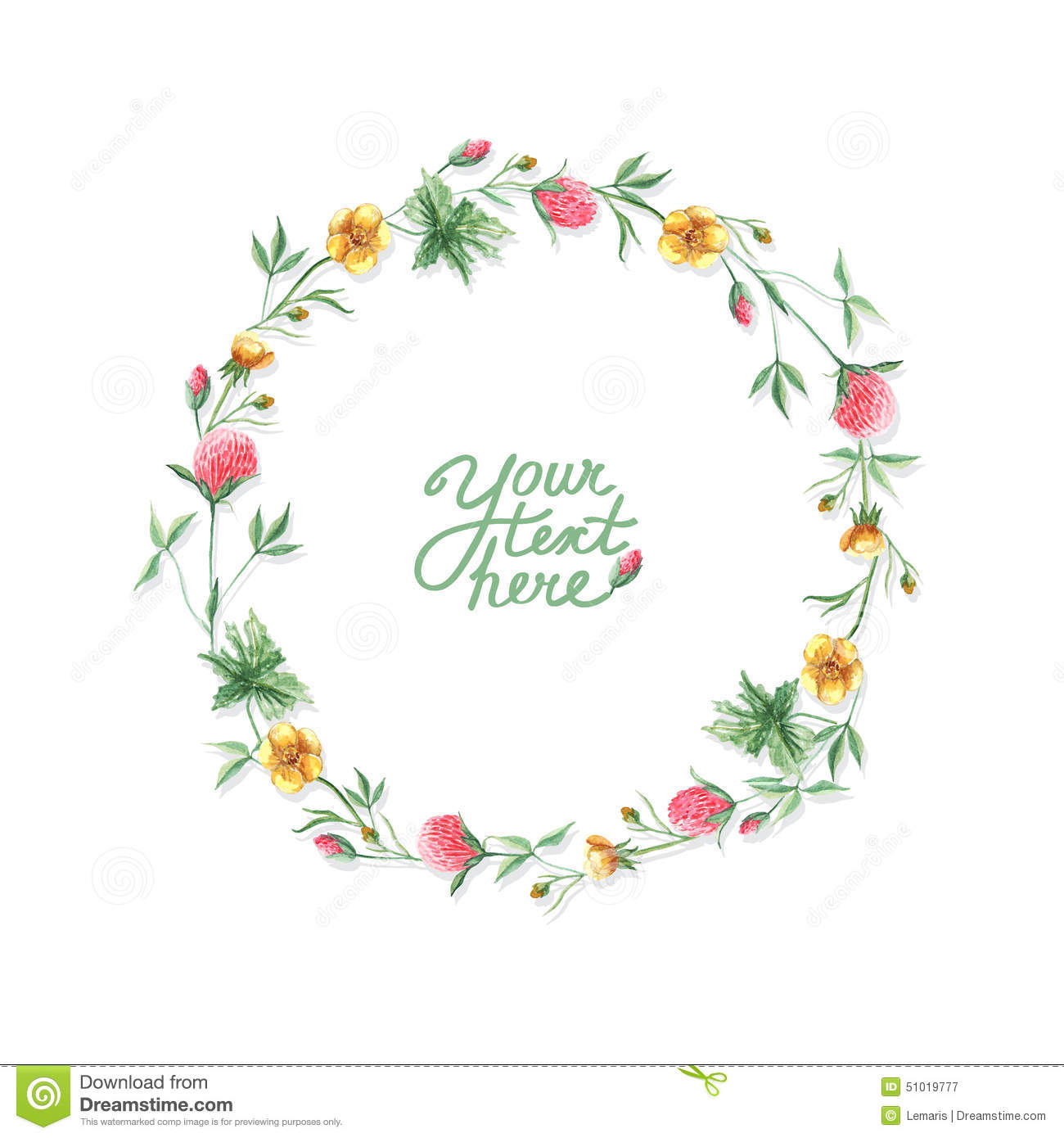 Vector Watercolor Flowers Circle Frame Stock Vector