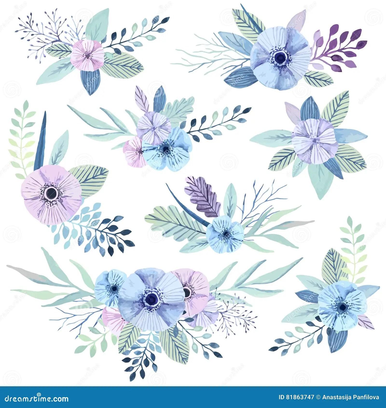 vector watercolor flowers stock