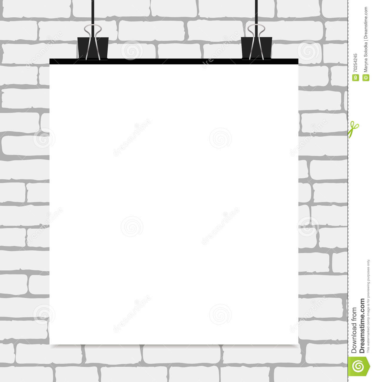 Vector White Blank Poster On A White Brick Wall Vector