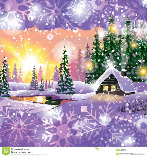Vector Winter Landscape. Painting With Hut And Fir Trees