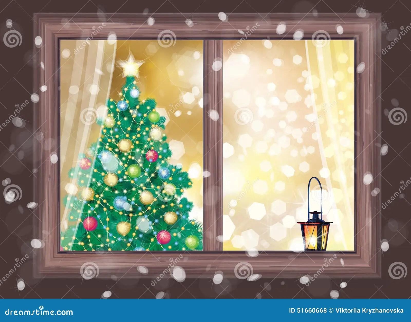 Vector Winter Night Scene Of Window With Christmas Tree