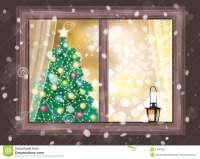 Vector Winter Night Scene Of Window With Christmas Tree