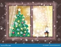 Vector Winter Night Scene Of Window With Christmas Tree ...