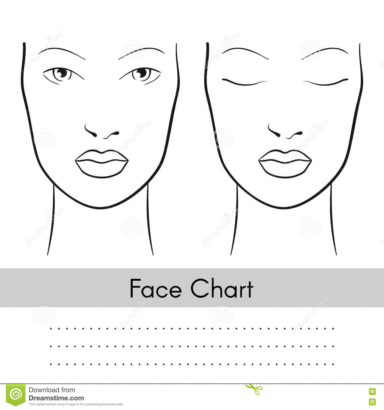 Vector Woman Face Chart Portrait Female Face With Open